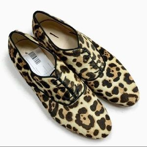 J Crew Calf Hair Leopard Oxfords NEW